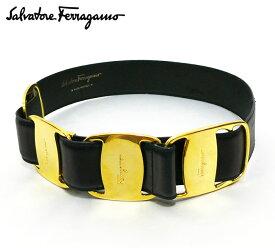 【Salvatore Ferragamo】 サルヴァトーレ フェラガモ ヴァラ バックル ベルト 〜68cm ゴールド ブラック 黒 【中古】