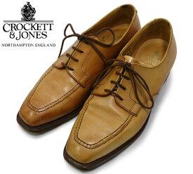 【CROCKETT&JONES】クロケット&ジョーンズ HONITON レザー シューズ ローファー 革靴 24.5cm ライトブラウン 薄茶 【中古】