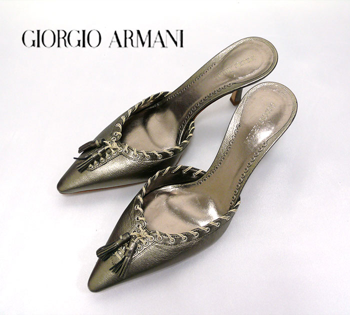 【GIORGIO ARMANI】ジョルジオアルマーニ サンダル size35 ミュール ピンヒール ハイヒール ブロンズゴールド【中古】