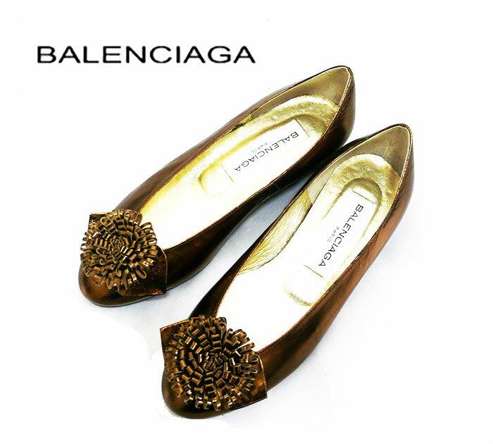 【BALENCIAGA】バレンシアガ 花モチーフ パンプス 22.5cm ブロンズゴールドレディース サイズ 35 1/2【中古】