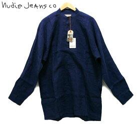 【Nudie Jeans】 ヌーディージーンズ 麻 スタンドカラー L/S シャツ サイズM ネイビー 紺 【新古品】【中古】