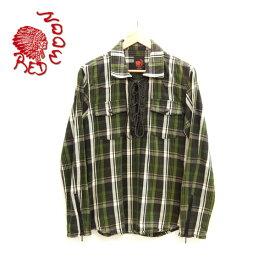 【RED MOON】レッドムーン レースアップ フランネルシャツ ネルシャツ 長袖 サイズ38 コットン×レザー 綿×牛革 グリーン×ブラック×ホワイト 緑×黒×白 チェック柄 日本製【中古】