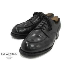 【J.M.WESTON】ジェイエムウエストン #641 ゴルフ オックス Uチップシューズ レザー サイズ8 1/2B シューツリー付 ブラック 黒 革靴 紳士 メンズ RM1287 【中古】