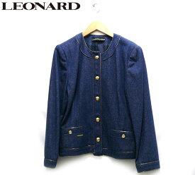 【LEONARD】レオナール シルクデニム ノーカラージャケット サイズ11 レディース 女性用 アウター ブルー 長袖 RC1883【中古】