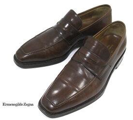 【Ermenegildo Zegna Napoli Couture】エルメネジルドゼニア ローファー XXX トリプルエックス サイズ7EE ブラウン イタリア製 メンズ ドレスシューズ 紳士靴 RM2519【中古】