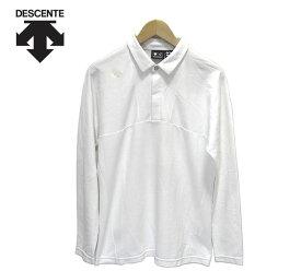 【DESCENTE】デサント DGM1036F ゴルフシャツ ロングスリーブ マナード 鹿の子 ホワイト サイズL メンズ 男性用 トップス 長袖 RM2661【中古】