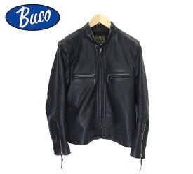 【BUCO THE REAL McCOY'S】ブコ リアルマッコイズ J-100 シングルライダースジャケット ホースハイド 馬革 レザー ネイビー サイズ36 日本製 メンズ 男性用 Gジャン アウター RC2304【中古】