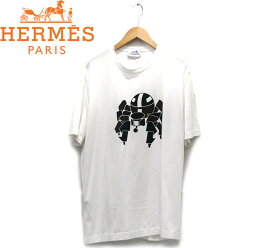 【HERMES】エルメス クルーネックプリントショートスリーブTシャツ XL イタリア製 白 ホワイト メンズ 男性用 トップス 半袖 RC1826【中古】