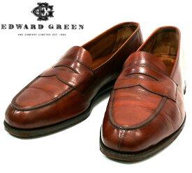 【EDWARD GREEN】エドワードグリーン #61 HARROW ハーロウ コインローファー サイズ6 1/2E 約25cm イギリス製 本革 レザー メンズ 靴 ブラウン RC1893【中古】