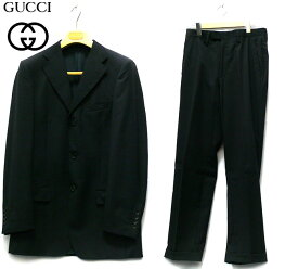 【GUCCI】グッチ 3Bセットアップスーツ サイズ46 メンズ 男性用 ジャケット ボトム パンツ 黒 ブラック ビジネス フォーマル RC2080【中古】