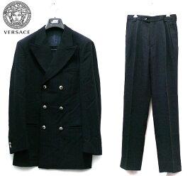 【GIANNI VERSACE】ジャンニヴェルサーチ ダブルブレスト ジャケット パンツスーツ サイズ46 メンズ 男性用 黒 ブラック スペイン製 RC2193【中古】