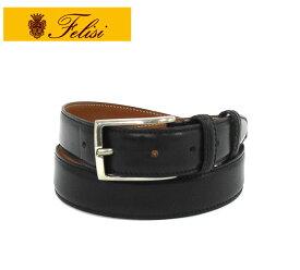 【Felisi】フェリージ バケッタレザー ブラック 黒 ドレスベルト 669/6 牛革 メンズ 男性用 ビジネス 服飾品 スーツ RM2314 【中古】