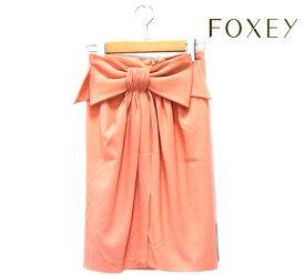 【FOXEY】フォクシー ブティック リボンモチーフ タック スカート ピンク サイズ40 日本製 推定Lサイズ RC0698 【中古】