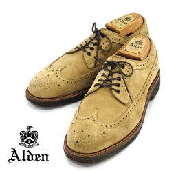 【ALDEN×SHIPS】オールデンシップス別注 #97986 サイズ7 1/2D ロングウイング スウェード ライトブラウン バリーラスト カジュアルシューズ 紳士靴 メンズ RM1039 【中古】