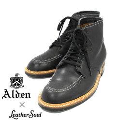 【ALDEN×LeatherSoul】オールデン×レザーソウル #401 インディブーツ トゥルーバランスラスト サイズ8E ブラックカーフ 黒 カジュアルシューズ 紳士靴 メンズ RM1207 【中古】