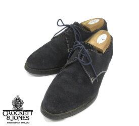 【CROCKETT&JONES】クロケットジョーンズ スエード プレーントゥ ネイビー サイズ7 1/2E 紺 シューズ 紳士靴 メンズ 革靴 英国 MADE IN ENGLAND RM1263 【中古】