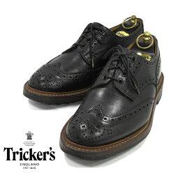 【Tricker's】トリッカーズ サイズ7F5 バートン コマンドソール ブラック 黒 シューズ ウイングチップ 紳士 革靴 英国製 RM1271 【中古】