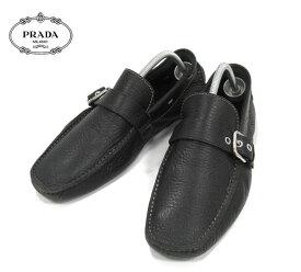 c0a05a2eebad 【PRADA】プラダ ドライビングシューズ ブラック レザー 本革 シューズ 紳士靴 メンズ 男性用