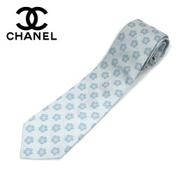 【CHANEL】シャネル シルク ネクタイ ココマーク CC フラワーモチーフ カメリア ライトブルー 紳士用 メンズ 男性用 ビジネス 服飾品 小物 RM1638 【中古】