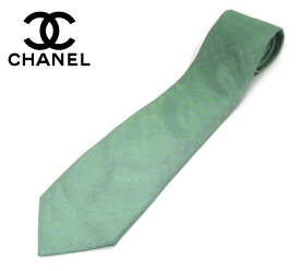 【CHANEL】シャネル シルク ネクタイ ココマーク CC グリーン×ブルーグレー 紳士用 メンズ 男性用 ビジネス 服飾品 小物 RM1680 【中古】