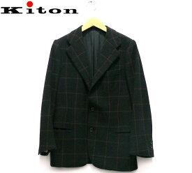 【Kiton】キートン カシミヤ100% ウィンドペン3B段返りシングルジャケット サイズ44 約XS イタリア製 アウター ブラック チェック メンズ 男性用 RC1242【中古】