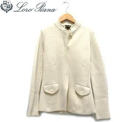 【【LoroPiana】ロロピアーナ シルクノーカラーシングルジャケット サイズ42 イタリア製 レディース 女性用 オフホワイト RC1456【中古】