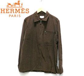 【HERMES】エルメス ZIPトップコーデュロイジャケット サイズ39 15 1/2 フランス製 ブラウン メンズ 男性用 RC1465【中古】