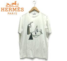 【HERMES】エルメス プリント ショートスリーブ Tシャツ サイズXL メンズ 男性用 イタリア製 半袖 白 ホワイト トップス RC1565【中古】