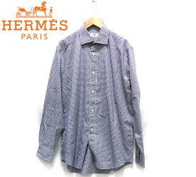 【HERMES】エルメス セリエボタン ギンガムチェック ドレスシャツ サイズ42-16 1/2 フランス製 ネイビー メンズ 男性用 長袖 トップス RC1583【中古】