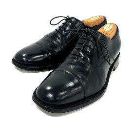 【Salvatore Ferragamo】サルヴァトーレ フェラガモ キャップドトゥ ドレスシューズ レザー ブラック サイズ8 1/2 2E 紳士靴 メンズ 革靴 RM3201 【中古】