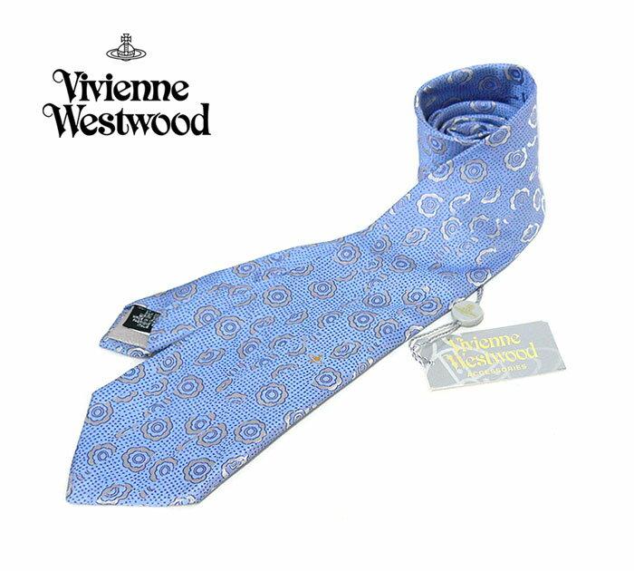 【Vivienne Westwood】ヴィヴィアンウエストウッド シルク100% オーブ ネクタイ ブルー×シルバー系 青 ドット ON1284【タグ付】【中古】