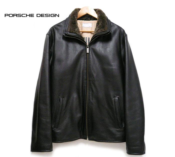 【PORSCHE DESIGN】ポルシェデザイン レザージャケット サイズEU M US S Genuine 本革 ブラック 黒 メンズ アウター 内襟ボア ON1449【中古】