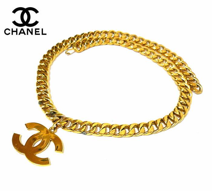 【CHANEL】シャネル ココマーク 太チェーンベルト ロゴマーク ゴールド金具 金色 箱付き ON1732【中古】