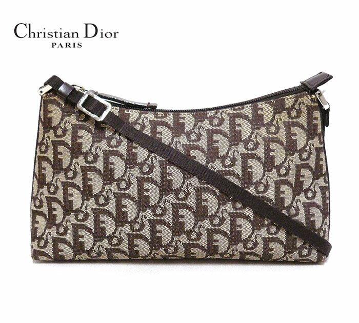 【Christian Dior】クリスチャンディオール トロッター アクセサリーショルダーポーチ ブラウン キャンバス ミニバッグ イタリア製 ON2183【中古】