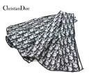 【Christian Dior】クリスチャンディオール トロッター柄 スカーフ ブラックネイビー系 65×65cm シルク イタリア製 O…