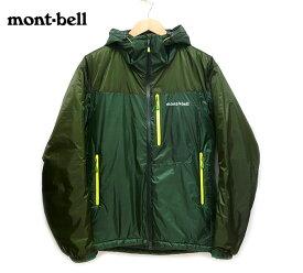【mont-bell】モンベル フラットアイアンパーカ 中綿入りジャケット フード付き アウター 1101509 サイズL ダークグリーン×グリーン メタリック系 深緑×緑 収納袋付き アウトドア 登山 メンズ 男性用 ON3814【極美品】【中古】