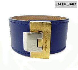 【BALENCIAGA】バレンシアガターンロック レザーバングル ブルーFB0362【中古】