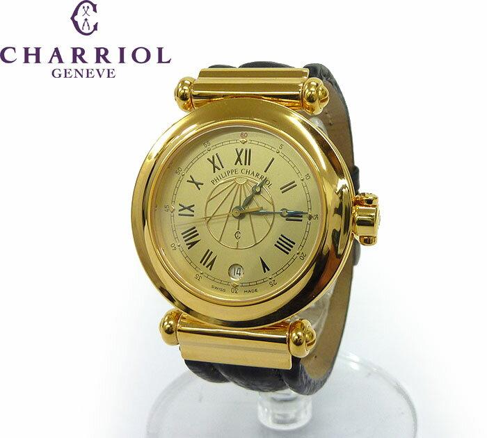 【PHILIPPE CHARRIOL】フィリップシャリオール コロンブス 腕時計 デイト ウォッチ レザーベルト クォーツ【中古】FF1142