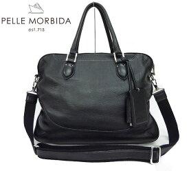 【PELLE MORBIDA】ペッレ モルビダ ビジネスバッグ ブリーフケース ショルダー ブラック 黒【中古】 FF0941