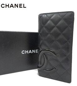 【CHANEL】シャネル カンボンライン 二つ折り 長財布 レザー ブラック 黒 【中古】FF2555