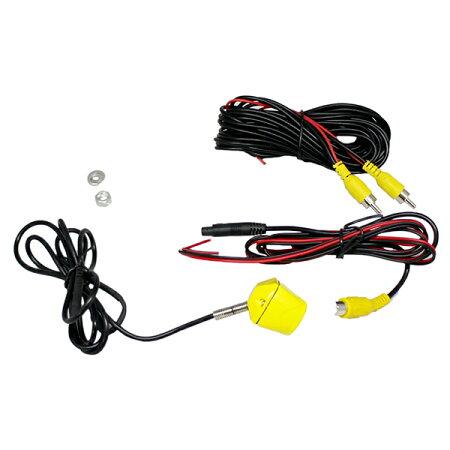 バックカメラナンバーネジ取付式黄色−軽自動車用−CCDセンサー・170°レンズ正像・鏡像切替防水規格IP67取得目立たず取り付けられるバックカメラ!