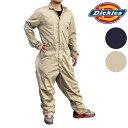 Dickies 48300ディッキーズ 長袖 つなぎコットン100%で着心地バツグン!胸ポケットファスナー無しタイプ作業着に!