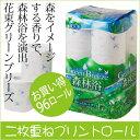 【送料無料】トイレットペーパー 花束 グリーンブリーズ ダブル まとめ買い 96ロール トイレットロール 環境にやさしい 森林浴 癒し フレッシュグリーンの香り おしゃれ シンプル 北欧風柄