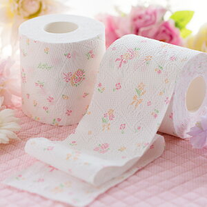 Hanataba/トイレットペーパー/3枚重ね/シャワートイレに最適/パルプ100%/プリント