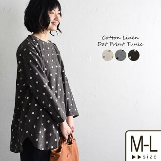 Tunic cotton hemp dot pattern print tunic / dress long pullover crew neck long sleeves generous figure cover adult natural Ms,Ls, / linen cotton spring and summer Lady's 1920SS0308, x02,