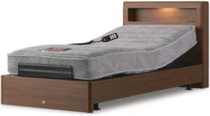 シモンズベッド BOXボックス シングル 脚付き 棚付き 2モーター電動ベッド 介護ベッドとしても マットレス付き ウェイクアップベッド 送料無料 自立支援 木製 シンプル simmons