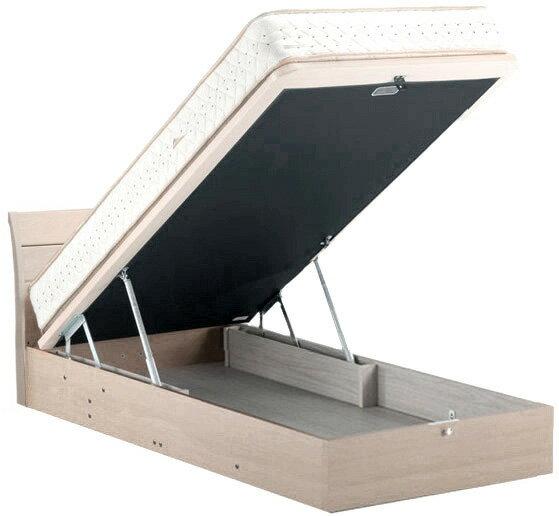 ドリームベッド フェミスティ2602 クイーン1・ワイドダブル フラット dreambed リフトアップ 縦型収納 大収納 跳ね上げ式ガスダンパーハッチ 大量整理 省スペース 収納ボックス ベッド下収納 ホワイトオーク色 アンティークかわいい 送料無料 日本製家具 フレームのみ