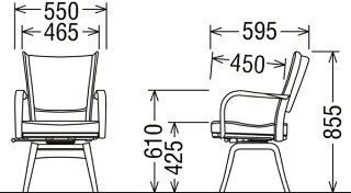 カリモクCT7354-1/食堂椅子/食卓椅子/ダイニングチェア/合成皮革・布張り/肘付椅子/回転椅子