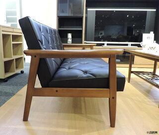 カリモクWS1193BW(旧WS1183BW)/肘掛椅子2Pソファブラック/合成皮革張ラブチェア/ビンテージ風/レトロ/古風/コンパクト/カリモク60風/カフェ/送料無料/日本製家具