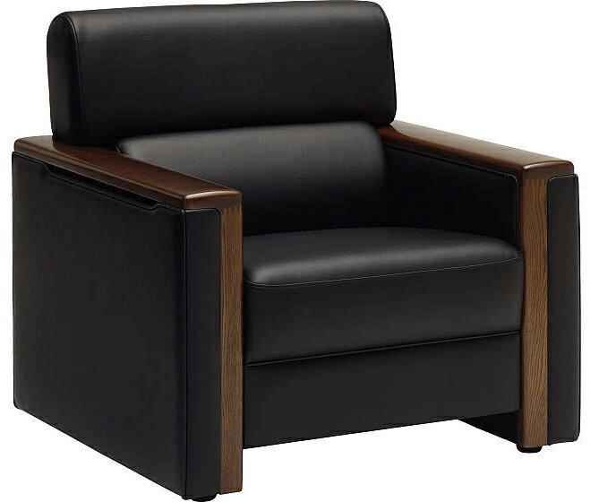 カリモク US5140BD 肘掛椅子1Pソファ 合成皮革チェア レザー応接室ボックス ブラック黒 ビンテージ風 レトロ 古風 コンパクト 送料無料 おすすめ おしゃれ 人気 karimoku 日本製家具 正規取扱店